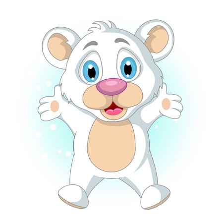 cute little Polar bear cartoon waving Stock Vector - 19791495