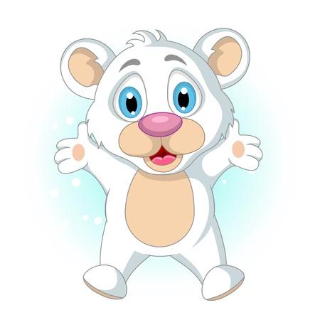 cute little Polar bear cartoon waving Stock Vector - 19791495