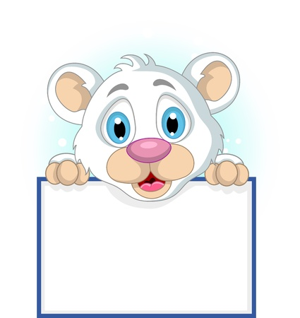 cute little polar bear holding blank sign Stock Vector - 19791476
