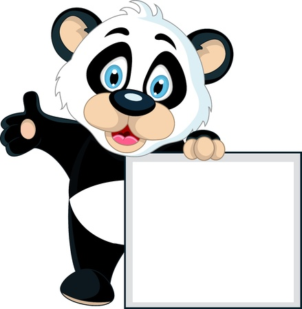cute Baby panda holding blank sign Vector