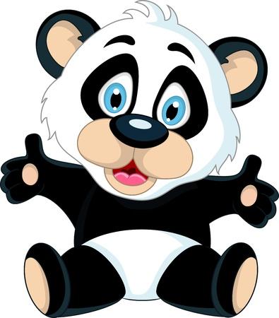 oso panda: lindo bebé panda subiendo su mano Vectores