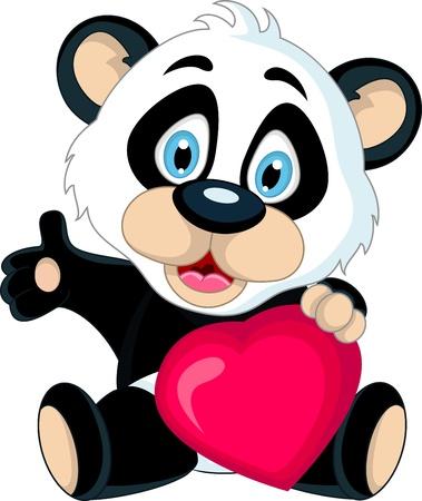 cute Baby panda holding love heart Illustration