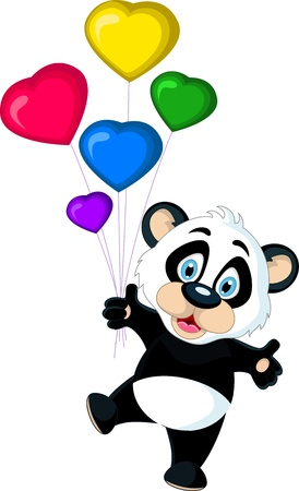 cute Baby panda holding balloon s Vector