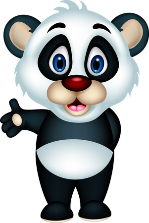 cute panda cartoon posing Vector