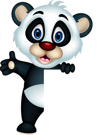 cute panda cartoon posing with blank sign Illustration