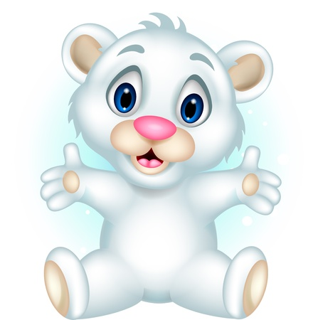 cute baby polar bear posing Vector