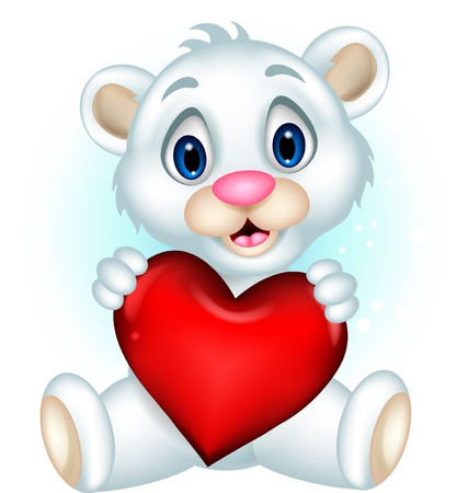 cute baby polar bear posing with heart love Vector