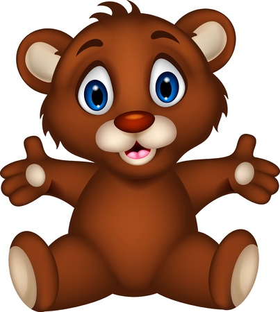 teddy bear cartoon: cute baby brown bear cartoon posing