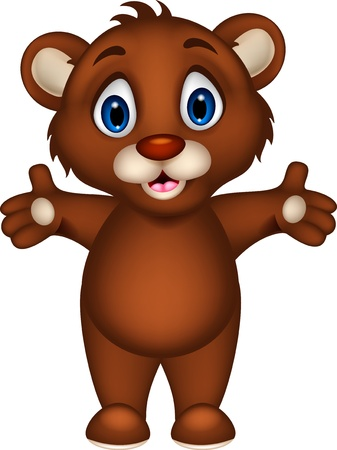 cub: cute baby brown bear cartoon posing