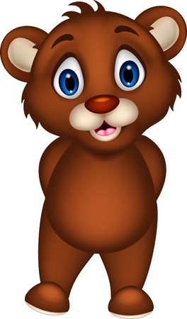 baby: cute baby brown bear cartoon posing