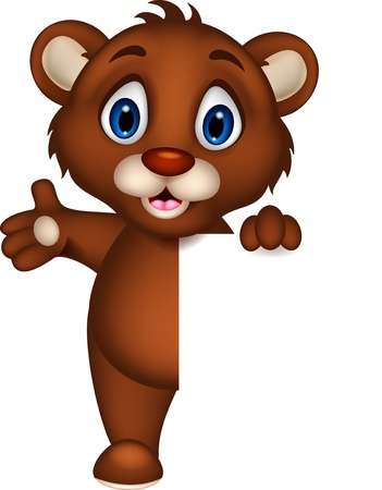 cute baby brown bear cartoon posing with blank sign Illustration