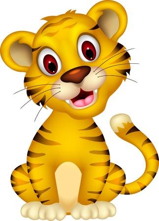 isolated tiger: cute tiger bambino in posa Vettoriali