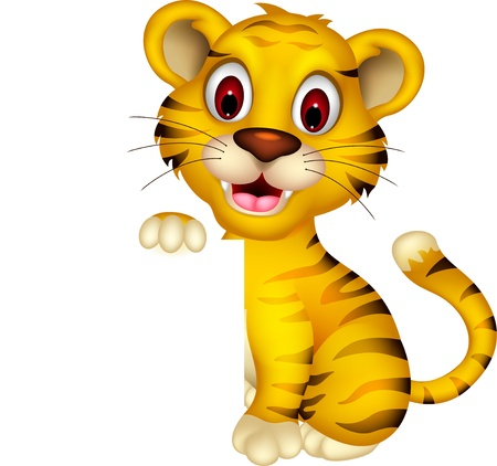 cute baby tiger posing with blank sign Vector