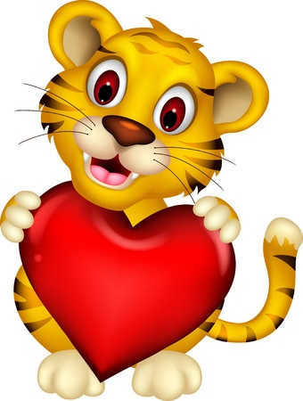 cute baby tiger posing with heart love Vector