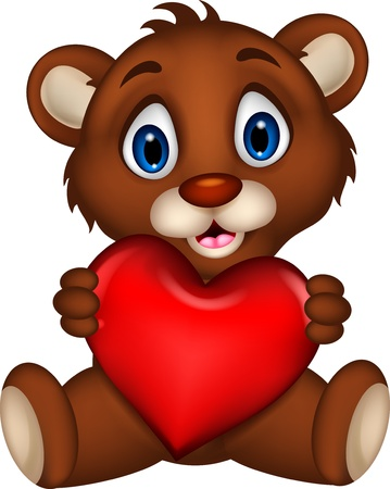 cute baby brown bear cartoon posing with heart love Vector