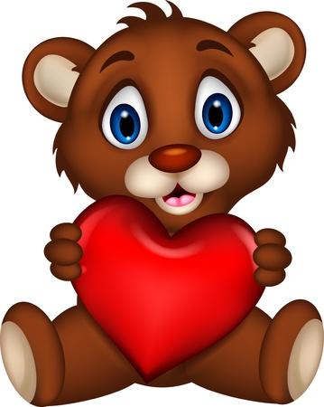 bear cub: cute baby brown bear cartoon posing with heart love