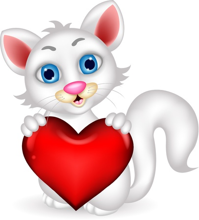 wiskers: cute fluffy white Cat holding heart love