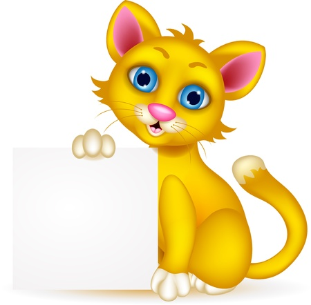 wiskers: cute cat cartoon with blank sign