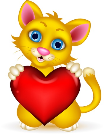 mjau: cute Cat holding heart love Illustration