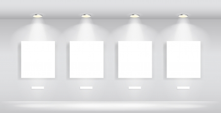 Beauty Gallery Interior with empty frames Illustration