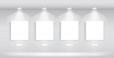 Beauty Gallery Interior with empty frames Stock Illustratie