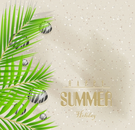 Summer holidays vector background with sand beach and palm tree Stock Vector - 19987296