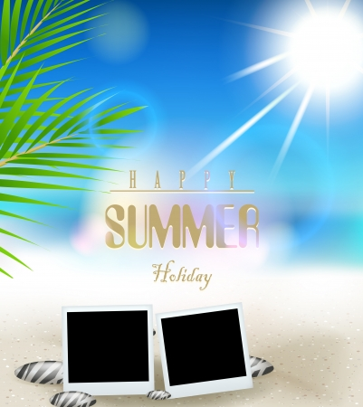 Summer holidays vector background with frame film Stock Vector - 19987298