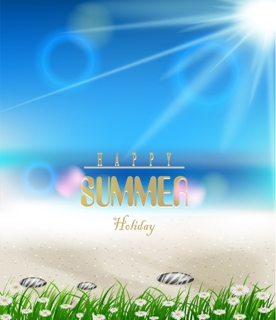 beach summer background with grass Stock Vector - 19988493