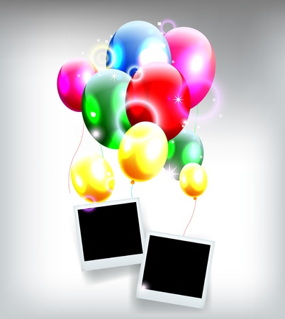 balloons with frame for birthday background Stock Vector - 19988969