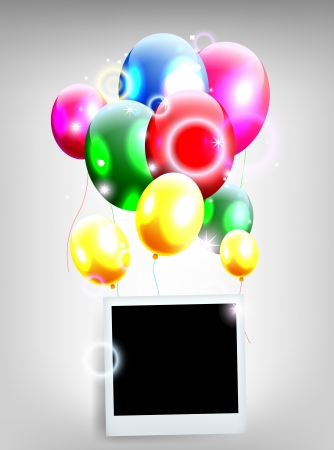 balloons with frame for birthday background Stock Vector - 19988970