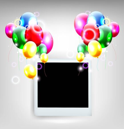 balloons with frame photo for birthday background Stock Vector - 19988971