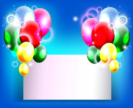 balloons with blank sign for birthday background Stock Vector - 19988977