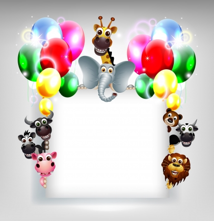 birthday background with balloon and animal safari on blank sign Stock Vector - 19988975