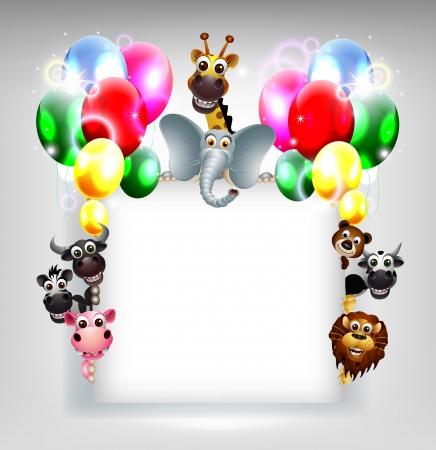 birthday background with balloon and animal safari on blank sign Stock Vector - 19988975