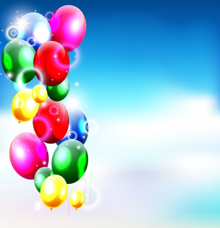 balloons with sky background Vector