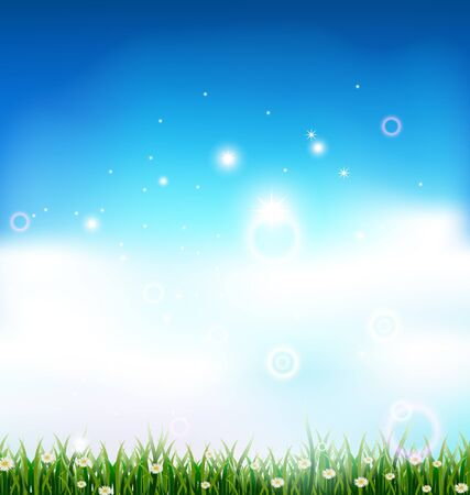 clean up: nature background with grass and light effects Illustration