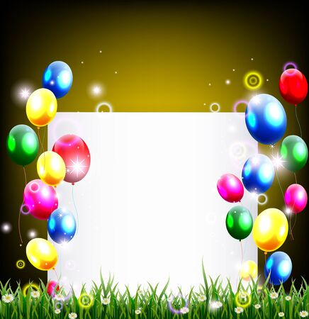 birthday background with place for text and grass decoration Vector