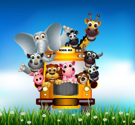 cartoon animal: funny animal cartoon on yellow car
