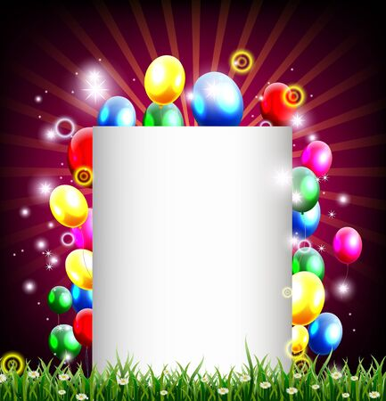 birthday background with place for text and grass decoration Stock Vector - 19989088