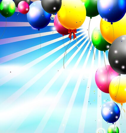 balloons in the sky for birthday background Vector