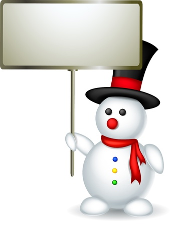 snowman with blank sign Vector