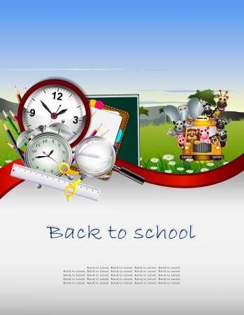 school border: Modern Back to school background with animal wildlife Illustration