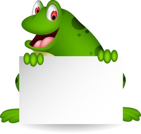 žába karikatura s prázdný znak