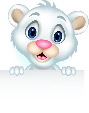 cute little polar bear holding blank sign Stock Vector - 20245244