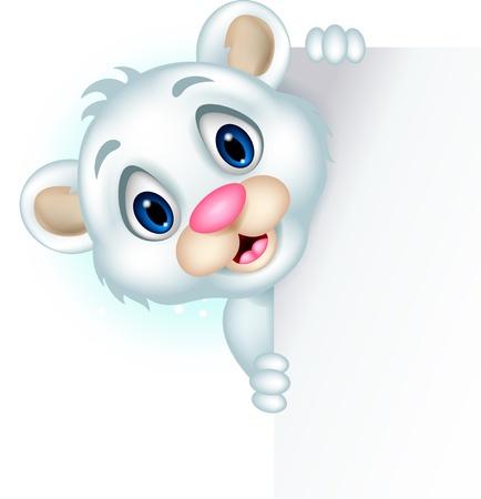 cute little polar bear holding blank sign Stock Vector - 20245245
