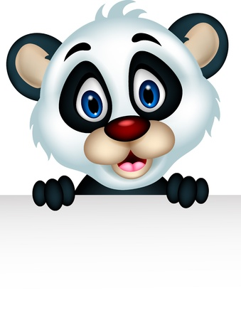 cute panda cartoon posing with blank sign Illustration