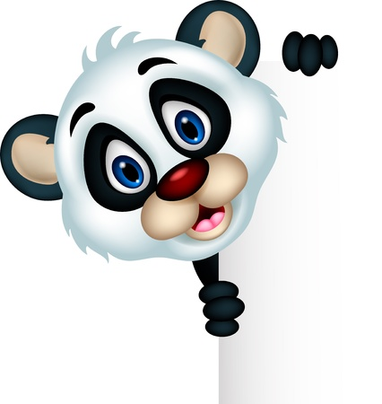 panda: cute panda cartoon posing with blank sign Illustration