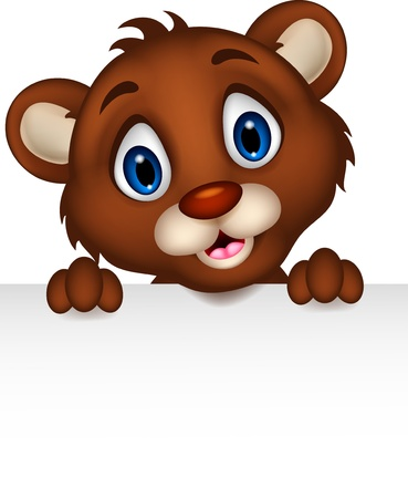 brown bear: cute baby brown bear cartoon posing with blank sign Illustration