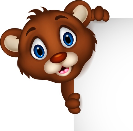 cute baby brown bear cartoon posing with blank sign Stock Vector - 20245247