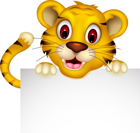cute baby tiger posing with sign Vector
